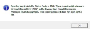 QuickBooks error 3140