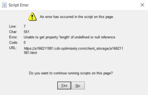 QuickBooks script error startup
