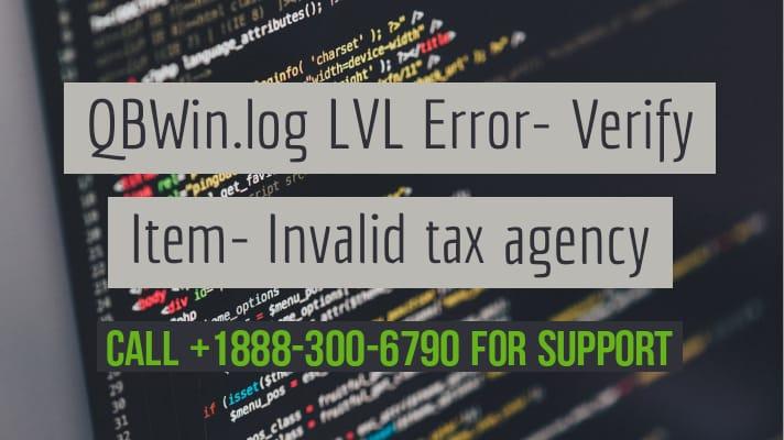 QuickBooks QBWin error Invalid tax agency