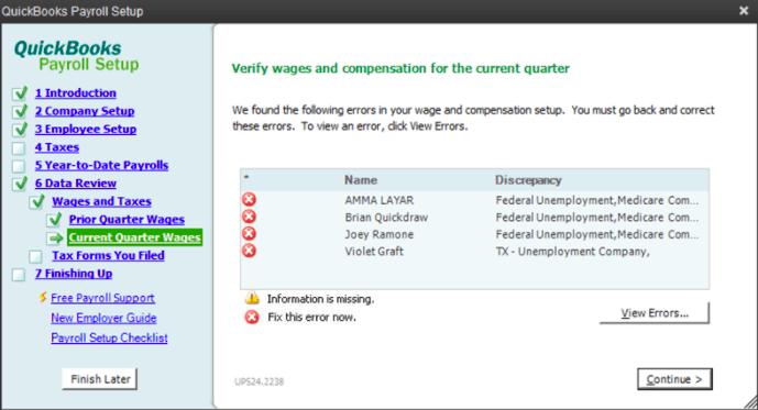 quickbooks payroll setup error