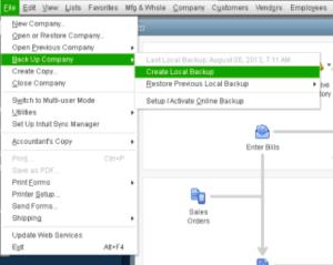 quickbooks desktop local backup data