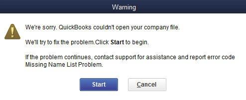 QuickBooks error missing name list problem