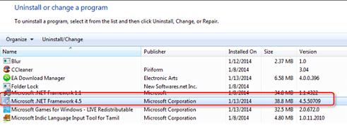 Reinstall Microsoft NET Framework to fix error 1304