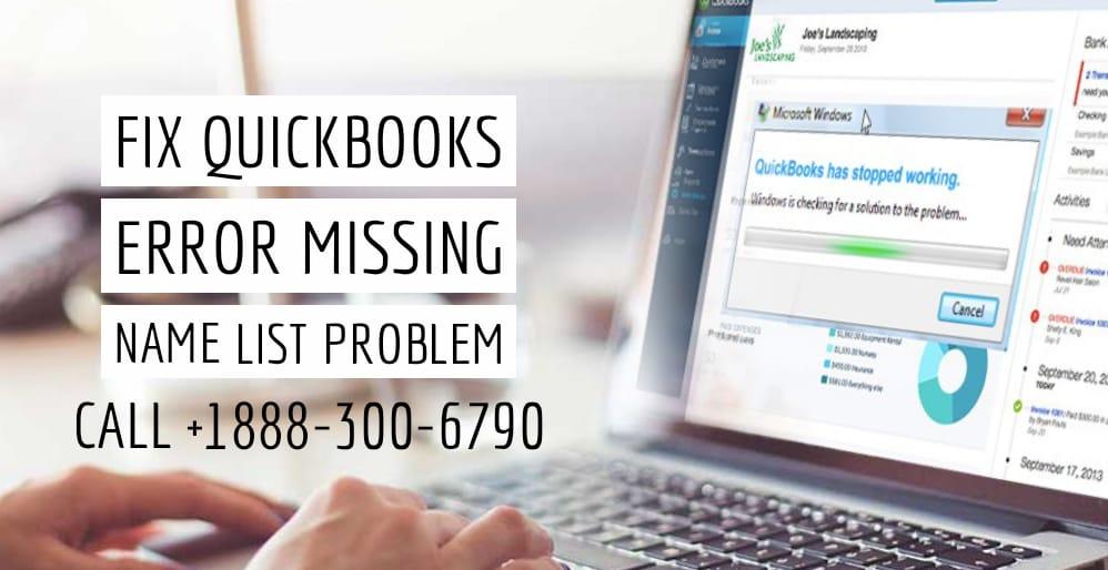 fix quickbooks error missing name list problem